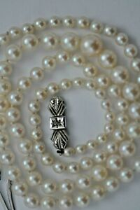 """Graduating Pearl necklace white gold clasp with diamond 19"""" long  video"""
