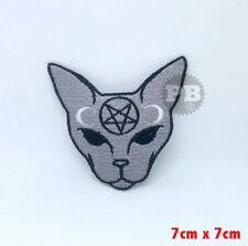 #1341 Goth Cat Meow Gothic badge Iron on Sew on Embroidered Patch