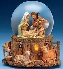 """SNOW GLOBES - FONTANINI """"AWAY IN THE MANGER"""" LIGHTED MUSICAL NATIVITY SNOW GLOBE"""