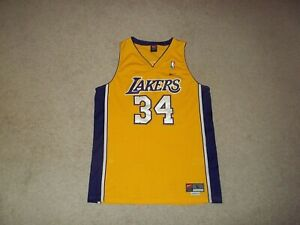 VTG Nike sewn Shaquille O'Neal Los Angeles Lakers Gold #34 Adult Large +2 Jersey