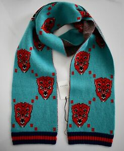 New Authentic GUCCI BENGALA Angry Face Motif WEB TRIM 100% WOOL Knit Long Scarf
