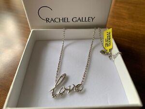 "Love Necklace Rachel Galley Rhodium Overlay Sterling Silver 16"""