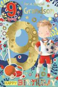 """For a Special Grandson 9th Birthday Card. Great Quality. Large Card 9"""" x 6"""""""
