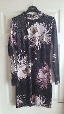 Bnwt Beautiful  Next Black Velvet Floral Bodycon Long Sleeve DressSize 12 RRP£50
