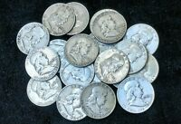 (Lot of 12) Franklin Half Dollars 90% Silver Coins Nice All Full Dates 1948-1963