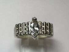 Marquise Cut Engagement Ring Size 8.75 925 Sterling Silver 1.4Ct Cubic Zirconia