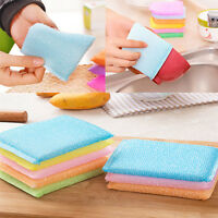 4pcs Soft Sponge Scouring Pads Dish Bowl Kitchen Cleaning Scrub Scrubber Pad