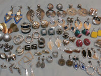 Huge Lot Vintage Modern Pierced Earrings 40 Pair Silver Tone Enamel Rhinestones