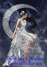 HAPPY BIRTHDAY GREETINGS CARD BEAUTIFUL FAIRY ANGEL LADY SITTING ON THE MOON