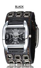 MONTRE BIKER TETE DE MORT- bracelet clouté cuir large- MOTAR-ROCK-GOTHIQUE-EMO