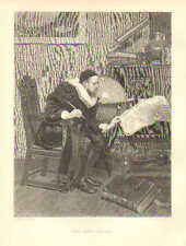 The Astrologer, by S. Lucas, Astronomy Charts, Globe, 1879 Antique Art, Print,