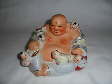 CHINESE FAMILLE ROSE Medium Porcelain smiling BUDDHA w/5 Boys Kids Multi-Color