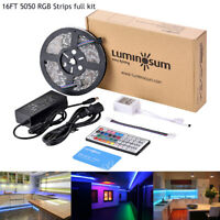 5050 LED Strip Lights RGB Kit with power supply & Remote Controller 12V 16.4ft