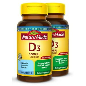 Nature Made Vitamin D3 1000 IU (25mcg) Softgels 100 ct Twin Pack for Bone Health
