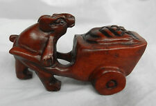 Vintage Carved Wooden Japanese Netsuke - Mouse with Wheelbarrow