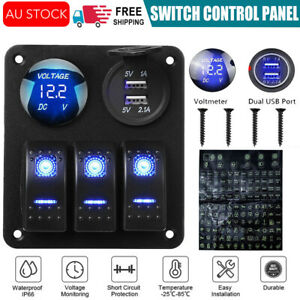 3 Gang 12V Switch Panel Control USB Charger ON-OFF Toggle for Truck Marine Boat