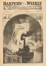 Fire At A New York Dock, The River Fire Brigade At Work, by J.O. Davidson, 1882