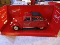 VINTAGE COCA-COLA COKE 1966 CITROEN 2CV (BEETLE LIKE) SOLIDO 1:18 DIECAST & BOX