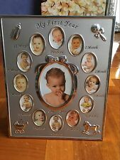 My First Year Newborn Silver Photo Frame 24x29CM Baby Shower Gift 13 Photo Hold