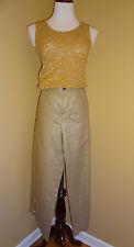 NWOT Women's Alec 2 Metallic Gold Linen Casual Low Rise Capri Pants in size 8/42