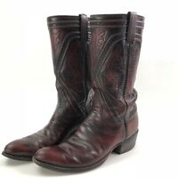 Men's Lucchese 7106 Western Cowboy Boots Black Cherry Calf Leather Size 8 1/2 D