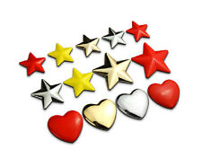 Chrome/Red/Gold Metal Star Car Sticker 3D Motor Heart Decal Auto Badge Emblem