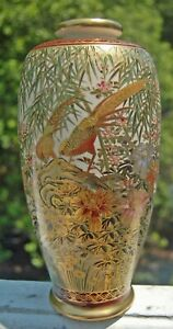 VINTAGE JAPANESE SATSUMA PORCELAIN VASE ASIAN ORIENTAL BIRD OF PARADISE