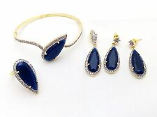 Indian Cz Gold Plated Fashion Women Sapphire Bridal Jewelry 5pc Full Combo Set