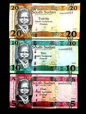South Sudan 5, 10, 20 Pounds Banknote World Paper Money UNC Currency Bill Note
