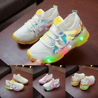 ChildrenKid Baby Girls Boys Mesh Letter Led Luminous Sport Run Sneakers Shoes