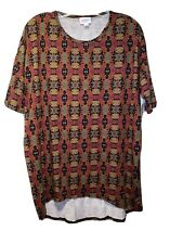 NWT LuLaRoe XS Irma Red Orange Yellow Green Multi Color Tunic Top Blouse Shirt