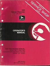 John Deere 320 Snow Thrower Operator's Manual Dealer Service Shop Copy