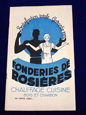 Catalogue FONDERIES DE ROSIÈRES. Chauffage Cuisine Bois et Charbon. Vers 1950