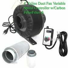 "4"" Variable Speed Control Inline Hydroponic Duct Fan Blower 190CFM Carbon Filter"