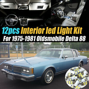 12Pc Super White Car Interior LED Light Kit for 1975-1981 Oldsmobile Delta 88