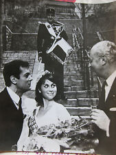 Photo presse vintage Miss France-Amérique Laforgue avec Tony Curtis 1963 USA
