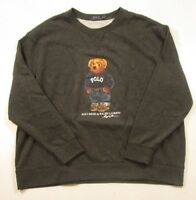 Polo Ralph Lauren Men's Big & Tall Black Heather Crewneck Fleece Bear Sweatshirt