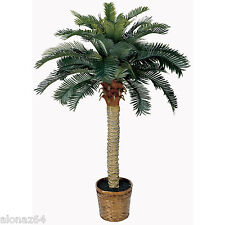 NEW 4 FT SAGO SILK PALM TREE WITH BASKET-TROPICAL ARTIFICIAL FAUX HOME DECOR