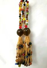 Set of 2 Beaded Tassel Bottle Ornament Home Decorate Amber Brown Red Green...