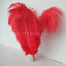 10pcs Natural Red Ostrich Feathers For Wedding Decorations 12~14 inch Length