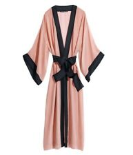 Sonia Rykiel Black Dusty Pink Silk Kimono Robe Lingerie Sleepwear H&M XS SM 0 2