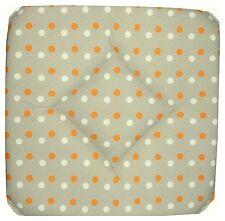 Lot de 6 Galettes Dessus de chaise Pois Blanc et Orange sur fond Taupe