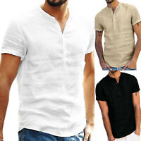 Men's Grandad Collar Plain Shirts Loose Fit Short Sleeve Beach Holiday Tee Tops