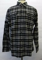 St Johns Bay Mens Shirt Button Up Medium Weight Flannel Shirt Black Gray Plaid S