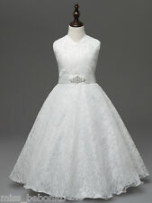 Sophia Flower Girl Dress Bridesmaid First Communion Lace Gown with FREE Headband