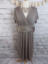 "THE WHITE COMPANY dress Size 16 bust 40"" taupe stretch jersey soft silk trim"
