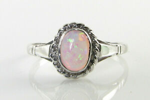9K 9CT GOLD 7mm x 5mm FIERY OPAL SOLITAIRE ART DECO INS RING FREE RESIZE