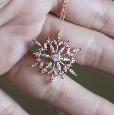 10k Rose Gold Natural Diamond Snow Flake Pendant Necklace Christmas Holiday gift