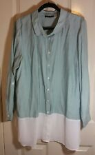 Styled By Joe Zee Women's Button Front Boyfriend Shirt With Chiffon Hem Size XL