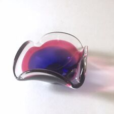 Flygsfors Coquille Small Crystal Bowl Signed Purple Modern Art Glass Vintage 59'